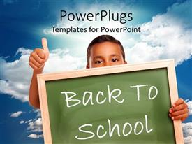 PowerPlugs: PowerPoint template with young boy showing thumbs up carrying board with text 'Back to school'