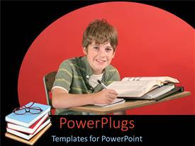 PowerPlugs: PowerPoint template with a young boy smiling and reading with a stack of books beside him
