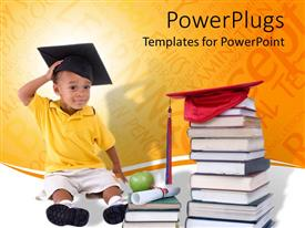 PowerPoint template displaying young boy student with graduation cap, books with diploma and apple, education, learning, teaching, school