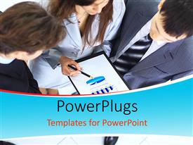 PowerPlugs: PowerPoint template with young business professionals discussing over business document in hand