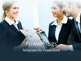 PowerPoint template displaying young business professional presenting business idea to co workers