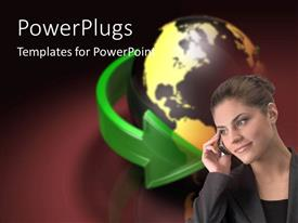 PowerPlugs: PowerPoint template with young business woman speaking on cell phone, globe surrounded by green arrow on dark background
