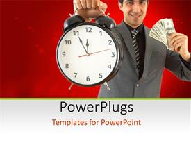 PowerPoint template displaying young businessman with alarm clock in one hand and dollar bills