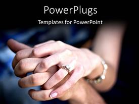 PowerPlugs: PowerPoint template with young couple holding hands with diamond engagement ring and platinum bracelets