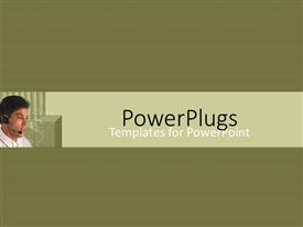 PowerPlugs: PowerPoint template with young customer support agent on green background