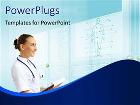 PowerPlugs: PowerPoint template with young female doctor in white examining diagram of human anatomy on board