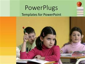 PowerPoint template displaying young girl in class with raised hand holding pencil