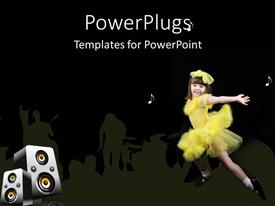 PowerPoint template displaying young girl dancing in yellow outfit against black background with white musical notes and set of large speakers