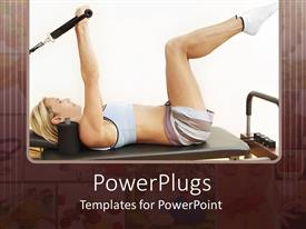 PowerPoint template displaying young girl exercising on pilates reformer machine