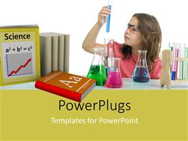 PowerPlugs: PowerPoint template with a young girl holding a test tube with blue liquid in it