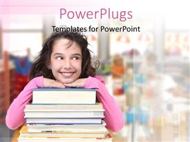 PowerPlugs: PowerPoint template with young girl leaning on book pile over blurred background