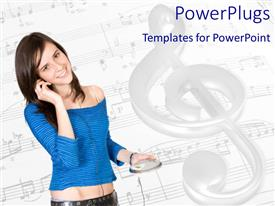 PowerPlugs: PowerPoint template with young girl listening to music with musical notes on music sheets