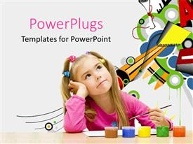 PowerPlugs: PowerPoint template with young girl with paintbrush and paints thinking with geometric designs in background