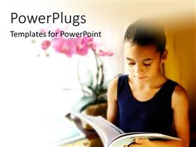 PowerPlugs: PowerPoint template with young girl reading from book near window with flower in vase