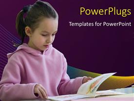 PowerPlugs: PowerPoint template with young girl reading from a book on purple background