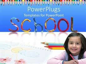 PowerPoint template displaying young girl smiling with color pencils and school text