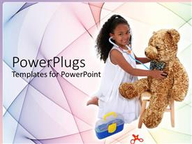 PowerPlugs: PowerPoint template with young girl with stethoscope playing doctor to big brown bear