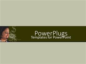 PowerPlugs: PowerPoint template with young happy customer support woman with dollar signs on green background