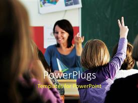 PowerPlugs: PowerPoint template with young happy woman teaching little kids