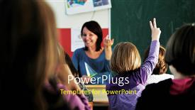 PowerPoint template displaying young happy woman teaching little kids