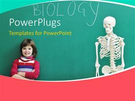 PowerPlugs: PowerPoint template with young kid leaning against chalkboard in biology class with human skeleton