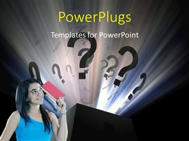 PowerPlugs: PowerPoint template with young lady asking questions with question mark symbol popping out of box