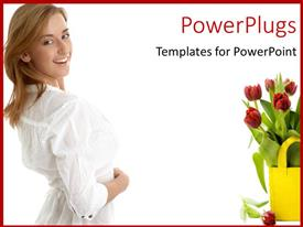 PowerPlugs: PowerPoint template with young lady dressed in white with basket filled with tulips
