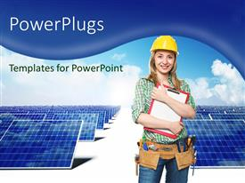 PowerPlugs: PowerPoint template with young lady engineer with tools around waist poses with solar panels