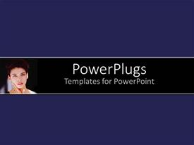 PowerPlugs: PowerPoint template with young lady with hands on neck showing straight face