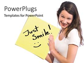 PowerPlugs: PowerPoint template with young lady holds up sticky note with text, Just smile!