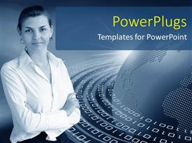 PowerPoint template displaying young lady over grey background with binary numbers around earth globe