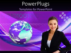 PowerPlugs: PowerPoint template with young lady posing with globe on binary numbers inpurplebackground