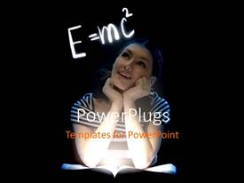 PowerPlugs: PowerPoint template with young lady reading with Einstein relativity formula on black background