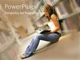 PowerPlugs: PowerPoint template with young lady reading on library floor