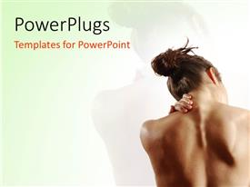 PowerPoint template displaying young lady showingoff smooth back over greenbackground