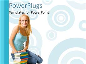 PowerPlugs: PowerPoint template with young lady sits beside book pile on white background with circles
