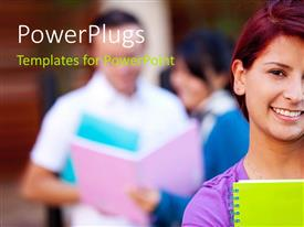 PowerPlugs: PowerPoint template with young lady smiling carrying notebook with students discussing in background
