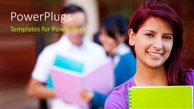 PowerPoint template displaying young lady smiling carrying notebook with students discussing in background