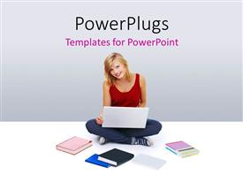 PowerPoint template displaying young lady studying on laptop with books on white surface
