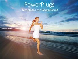 PowerPlugs: PowerPoint template with young lady in white running barefoot on beach sand with sun setting