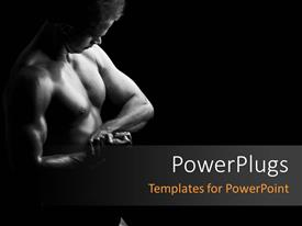 PowerPoint template displaying young male bodybuilder flexing his muscles over dark background