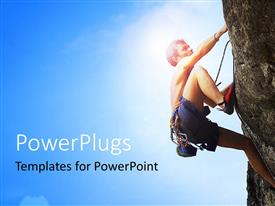 PowerPlugs: PowerPoint template with a person climbing the mountain with bluish background
