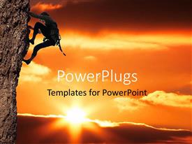 PowerPlugs: PowerPoint template with a person who is climbing a mountain