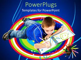 PowerPlugs: PowerPoint template with young male drawing on a book and lying on a multi colored surface