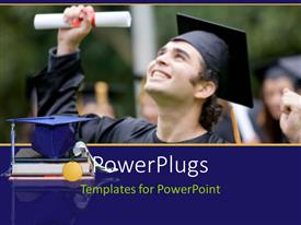 PowerPlugs: PowerPoint template with a young male happily smiling in a graduation gown