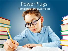PowerPoint template displaying a young male kid with glasses holding a pencil and studying