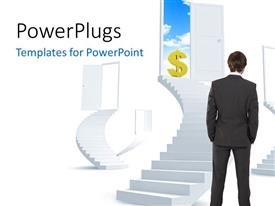 PowerPlugs: PowerPoint template with a professional with a number of doors