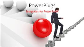 PowerPoint template displaying a person going upwards with the help of money