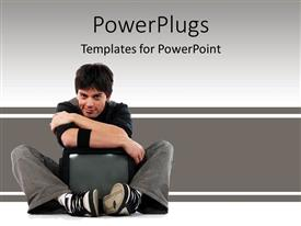 PowerPlugs: PowerPoint template with young man hugging television, mass media, advertising