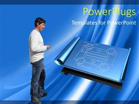 PowerPoint template displaying young man inspecting half rolled blueprint on blue background